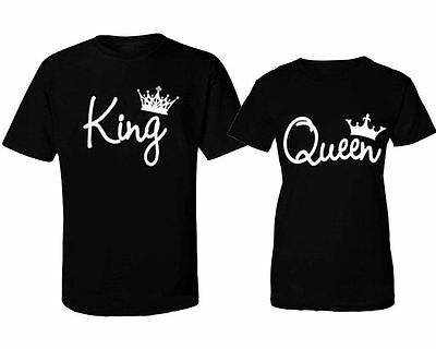 US STOCK Couple T-Shirt King and Queen - Love Matching Shirts Couple Tee Tops