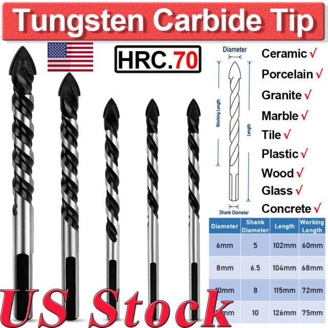 US 5Pcs 6-12mm Tungsten Carbide Tip Tile Drill Bit For Tile Concrete Brick  Glass