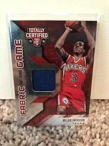 super popular a35c4 3532f Details about Allen Iverson 2015-16 Panini Totally Certified Jersey Card  #'d/199