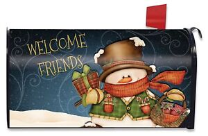 Christmas Mailbox Covers.Details About Welcome Friends Snowman Large Christmas Mailbox Cover Primitive Oversized