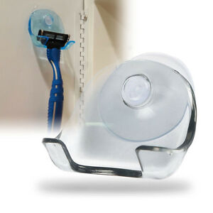 New-Safe-Razor-Stand-Suction-Cup-Holder-Shaver-Cap-Bathroom-Wall-mounted-Grey-DQ