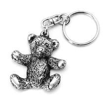 Teddy Bear keyring Key-ring (keychain) in Fine English Pewter, Handmade, (h)