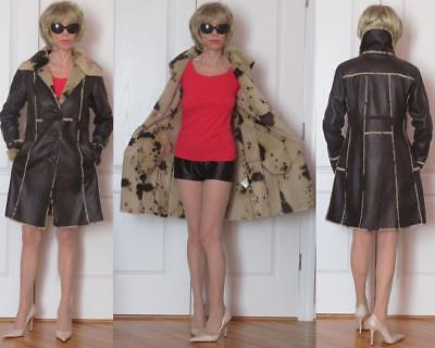 LAUNDRY BY SHELLI SEGAL FAUX SHEARLING ANIMAL PRINT FAUX FUR BROWN COAT S