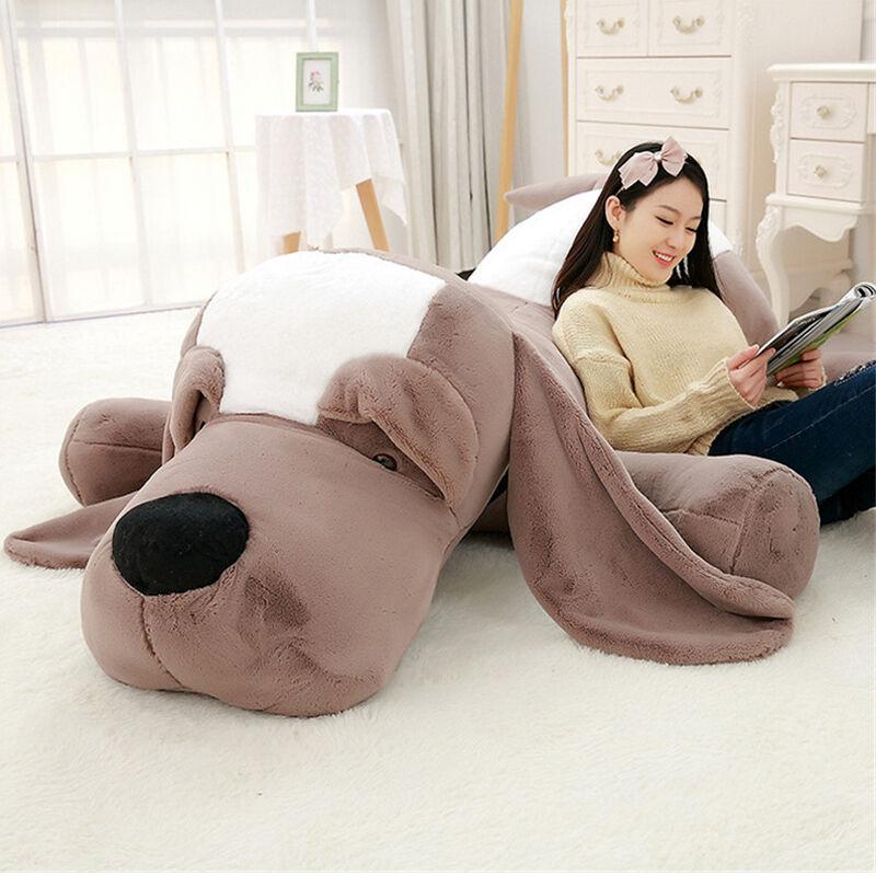 Giant Plush Stuffed Animals Lying Dog Toys Big Soft Sleeping Puppy Dogs Doll C07
