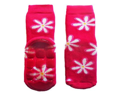 WERI SPEZIALS Non-slip  Pink Chamomile  terry Socks For Children