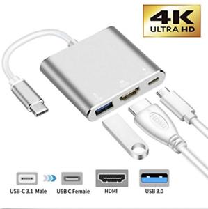 Type C USB 3.1 to USB-C 4K VGA HDMI USB 3.0 Adapter 4 3 in 1 Hub Galaxy Macbook