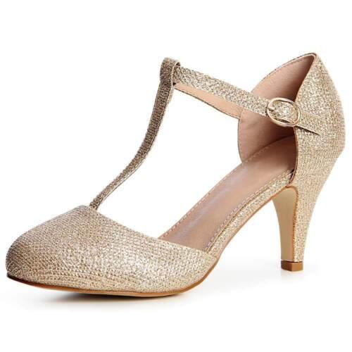 Bombas de la mujer glitter tiras tacón venta zapatos fiesta boda de moda
