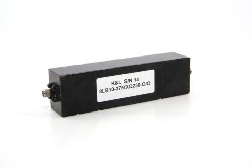 K/&L BAND PASS FILTER  8LB10-375//XQ230-0//0 260-480MHz
