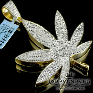 Yellow gold plated genuine real diamond weed marijuana leaf pendant image is loading yellow gold plated genuine real diamond weed marijuana aloadofball Choice Image