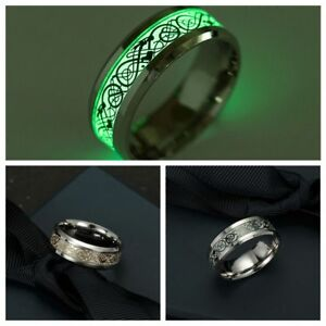 Frauen-Leuchten-Im-Dunkeln-Drachen-Punk-Rostfreier-Stahl-Leuchtband-Ring