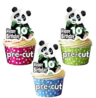 10th Birthday Panda Precut Cup Cake Toppers Decorations Boys Girls Son Daughter