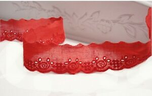 14Yds-Broderie-Anglaise-cotton-eyelet-lace-trim-1-034-2-5cm-red-YH834-laceking2013