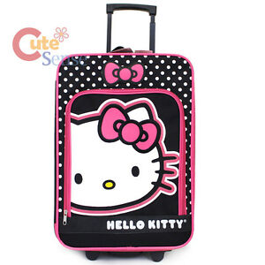 Hello-Kitty-20-034-Luggage-Canvas-Hard-Suit-Case-Pink-Black-Trolley-Rolling-Bag