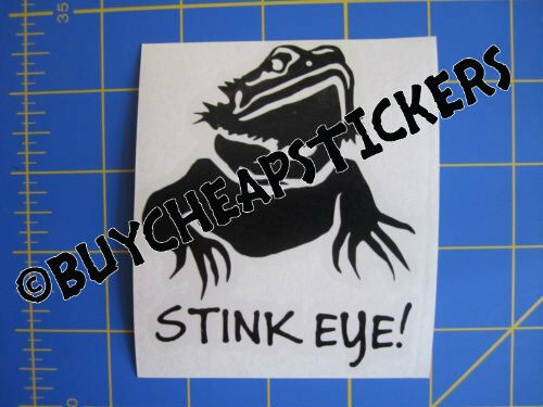Bearded Dragon Stink Eye Vinyl Decal Any Color Sticker 3x3