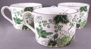 Coalport-Cathay-Bone-China-Flat-Cups-Set-of-3-Green-Birds-amp-Flowers-England