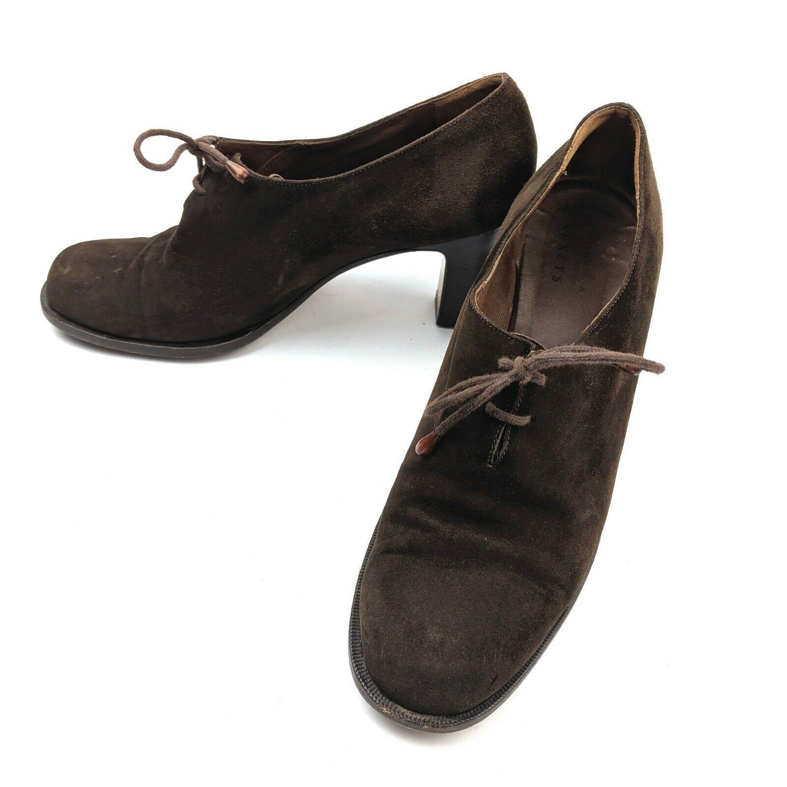 Vintage Henry Beguelin for Barneys  Brown Suede Leather Pumps Heels Size 9