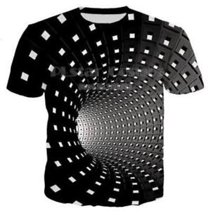 Hypnosis-Swirl-3d-T-Shirt-Print-Mens-Womens-Casual-Short-Sleeve-Graphic-Tee-Tops