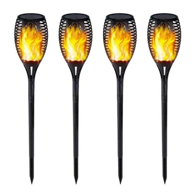 4 Pack Solar LED Flackernde Landschaft Lampen Tanzen Flamme Fackel Garten Lichts