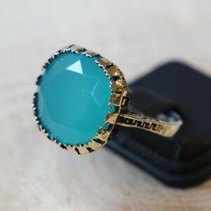 925-Sterling-Silver-Handmade-Authentic-Turkish-Aqua-Marine-Ladies-Ring-Size-6-9