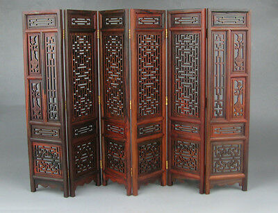 "Collectibles China Rosewood Suanzhi Wood Carved Flower Design Small Folding Screen 9.7"" H To Suit The PeopleS Convenience"