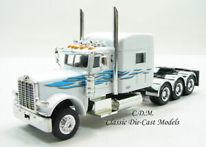 Peterbilt-389-Tri-Axle-Tractor-w-Sleeper-White-Blue-HO-1-87-Scale-Promotex-6551