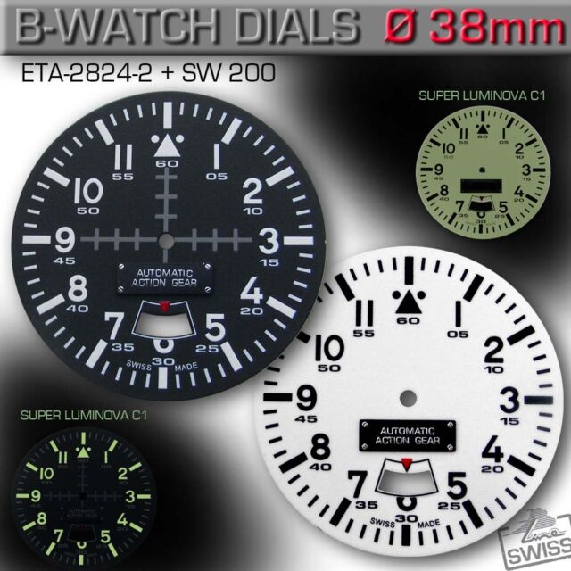 DIAL, ETA 2824-2 + SW 200, Ø 38MM, B-WATCH, SUPER LUMINOVA C1, 4 VERSIONS