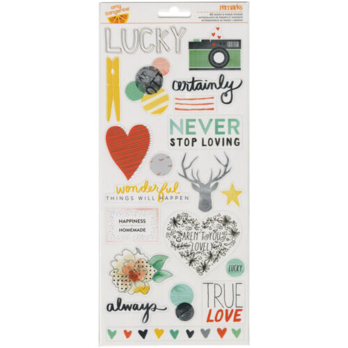 American Crafts Stitched Collection Transparent Stickers Accent And Phrase