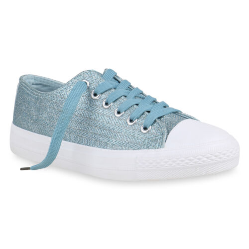 Damen Sneaker Low Glitzer Turnschuhe Freizeit Schuhe Schnürer 821408 Top