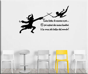 Adesivi murali frasi peter pan wall stickers bambini tattoo camerette ws1247 ebay - Adesivi per muro cameretta ...