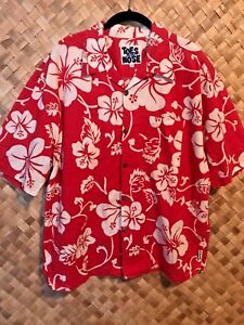 TOES-ON-THE-NOSE-RED-WHITE-HIBISCUS-HAWAIIAN-PRINT-COTTON-ALOHA-SHIRT-LARGE