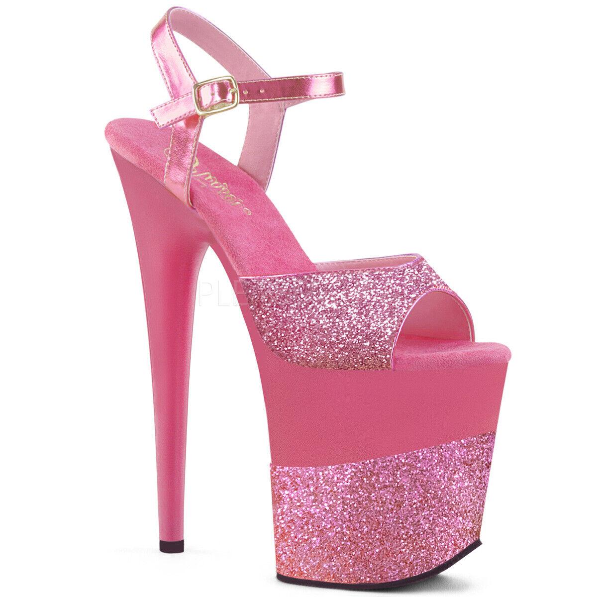 Pleaser Sexy 8 Brillo  Tacón Brillo 8 rosado Zapatos De Plataforma y Correa en el tobillo Bailarín Stripper 28b75f