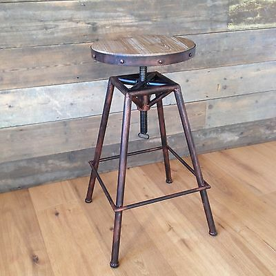 Bistro-style adjustable Stool - Burnt Copper colour finish - urban industrial