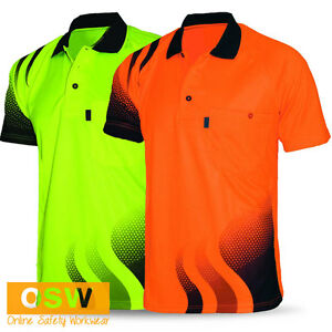 Hi vis work cool dry breathable wave tradies orange yellow for Hi vis t shirt printing