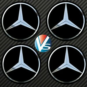 4-autocollants-stickers-MERCEDES-chrome-40-a-100-MM-pour-centre-de-jantes