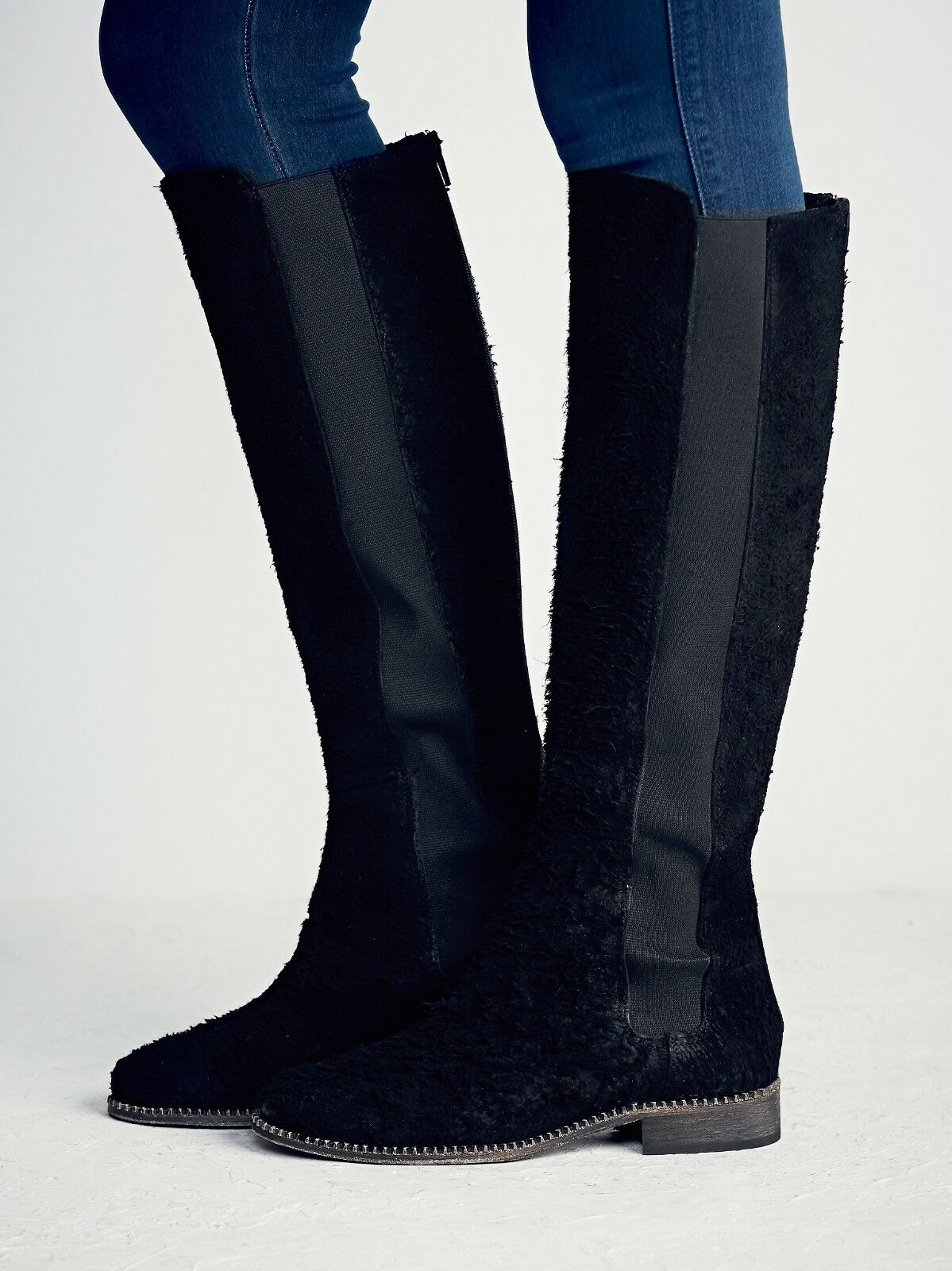 FREE PEOPLE SHOES CALLOW TALL BOOT BLACK 38 NEW BACK ZIP FLAT KNEE HIGH  298