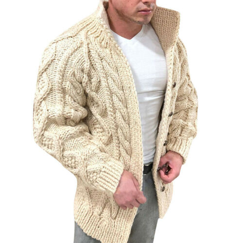 Men Winter Solid Jacket Sweater Warm Cardigan Coat Fashion Knitted Coat SZ M-4XL