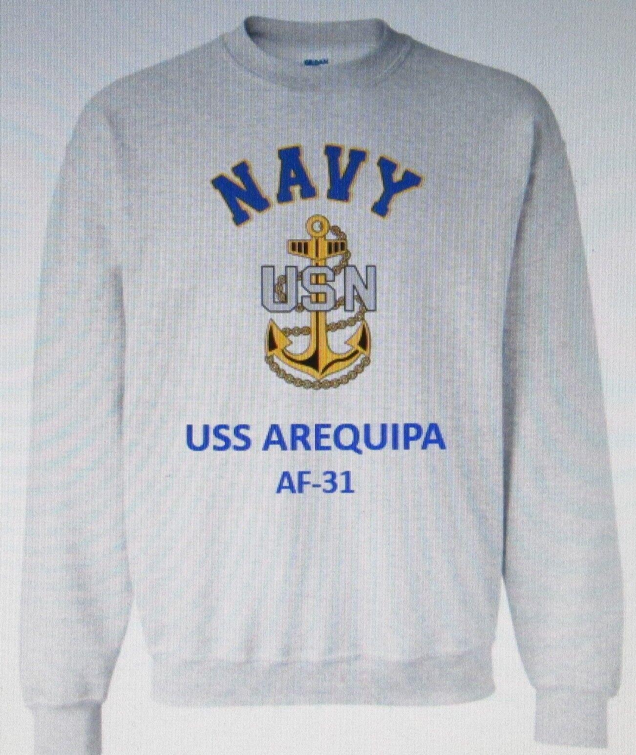 USS AREQUIPA  AF-31  STORES SHIP  NAVY ANCHOR EMBLEM SWEATSHIRT