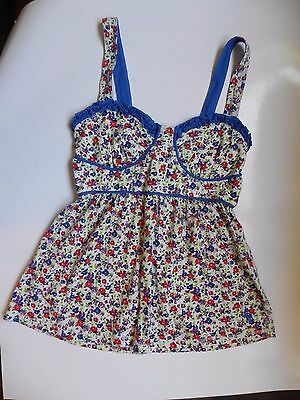 Abercrombie & Fitch~Blue Floral sz S Tank Top Bustier Summer Top
