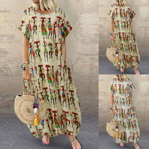 ZANZEA-Femme-Elegant-Impression-Col-Rond-Decontracte-lache-Robe-Dress-Mince-Plus