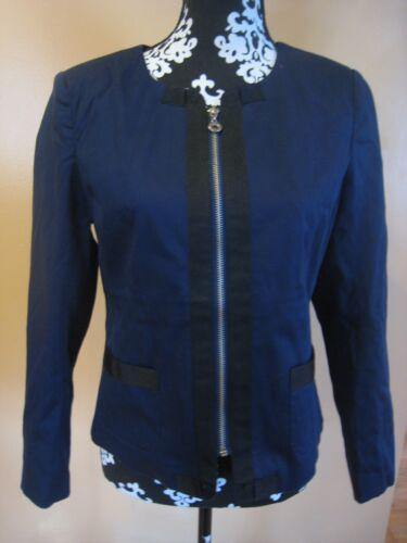 Chadwick/'s Navy BLUE Zip up Long Sleeve Jacket Blazer Size 8 Petite