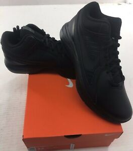 5d6ceb6552faa Details about Nike The Overplay VIII Mens Black Leather Basketball Shoes -  NEW - Medium