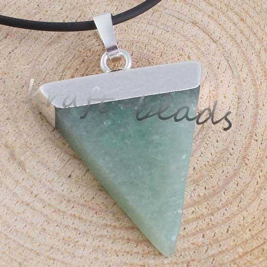 Healing Chakra Gemstone Stone Triangle Pendulum Bead Pendant Charms Fit Necklace