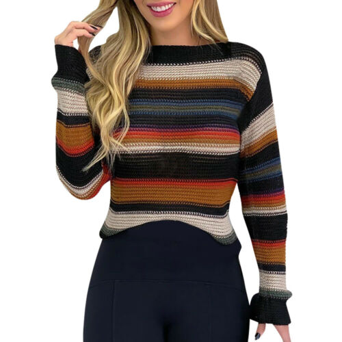Womens Long Sleeve Knitted Sweater Jumper Ladies Striped Casual Pullover Tops