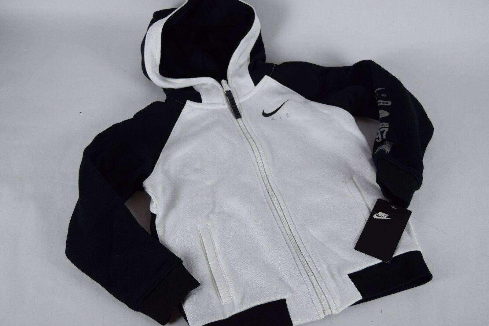 NWT!$ 70 Gyermek Tipegő Nike Air Max Teljes Zip Hoodie sz 6 Fehér Fekete 86B826 001