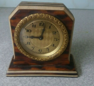ANTIQUE-VINTAGE-SMALL-GILT-FACED-CLOCK-NEEDS-WORK
