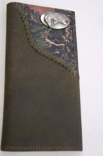 ZEP-PRO Largemouth Bass Fish Leather Fence Row Roper Camo WALLET ONLY NO BOX