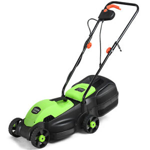 12-Amp-14-Inch-Electric-Push-Lawn-Corded-Mower-With-Grass-Bag-Green