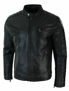 Men-039-s-New-Soft-Lambskin-Motorcycle-biker-Genuine-Leather-Jacket-Cafe-Racer-Coat