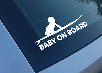 Badges, Insignes, Mascottes Baby On Board Surf Planche Blanc 15cm Autocollant Sticker Ba190 Shrink-Proof Automobilia