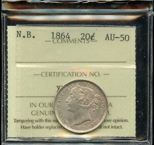 1864-New-Brunswick-Silver-Twenty-Cents-ICCS-AU-50
